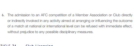 Jeonbuk Hyundai Motors could face a suspension from AFC Champions League according to Article 73_6 of the AFC Statutes