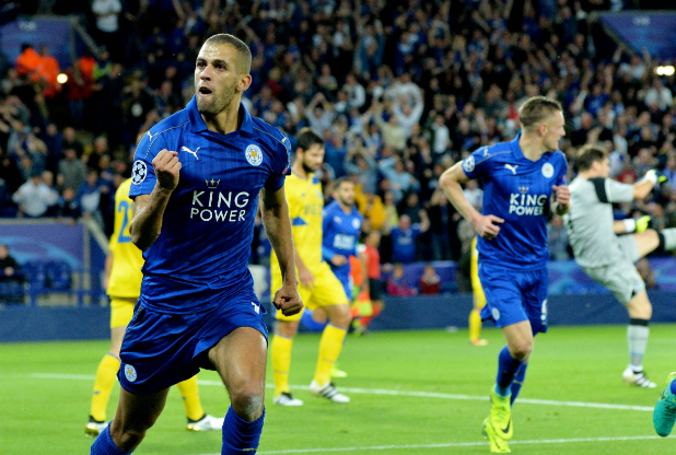 Islam Slimani celebrates after scoring against Porto