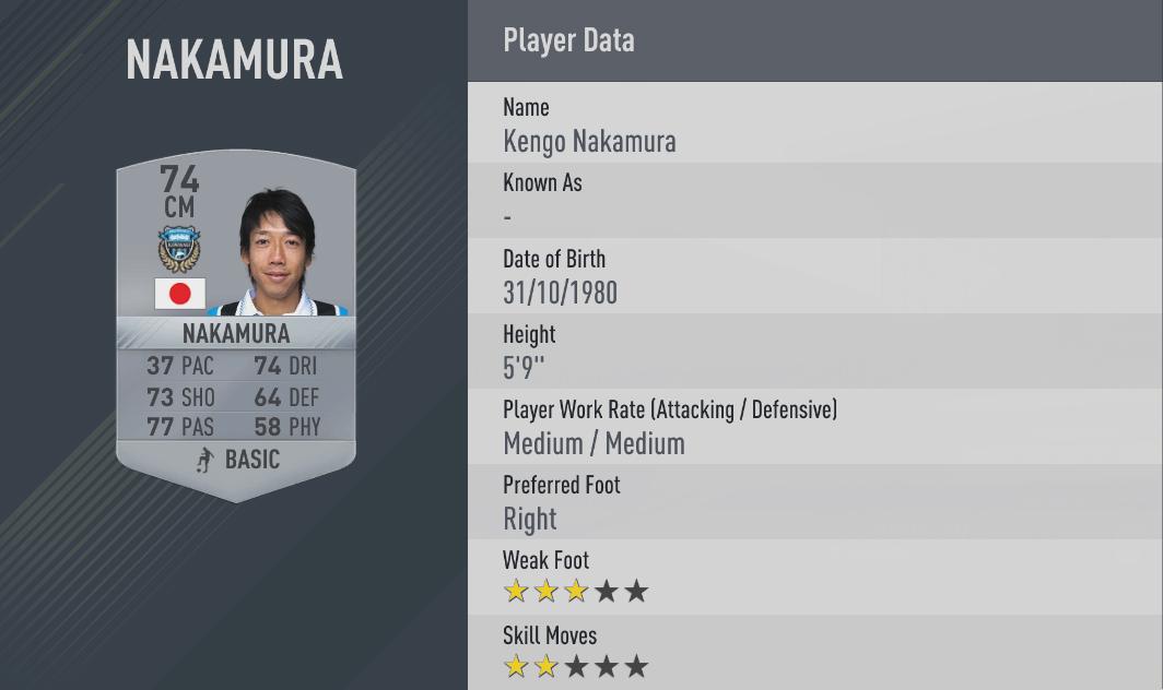 Kengo Nakamura fifa17