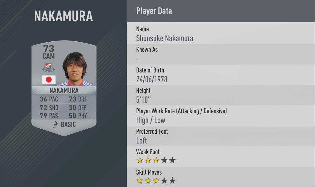 Shunsuke Nakamura fifa17