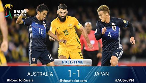What a game between two great rivals! It finishes 1-1 in Melbourne #AUSvJPN