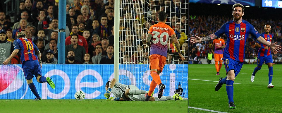 Barcelona vs Man City Messi puts Barca in front by taking advantage of Fernandinhos slip to round Bravo and slot home