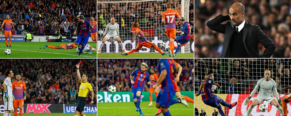 Messi destroys Man City Superstars hat-trick punishes Pep for leaving Aguero out as Bravos sending off hands game to Barca