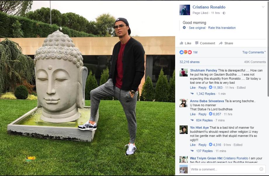 C Ronaldo got roasted by fans on his FB page for disrespecting buddhism by stepping on Buddhas statue