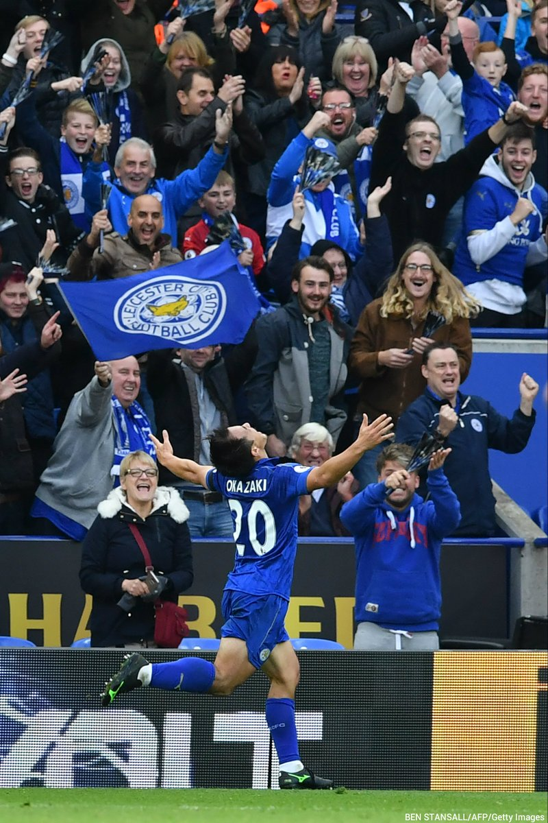 Shinji Okazaki with THAT unforgettable grin after scoring Leicester Citys second goal of the afternoon