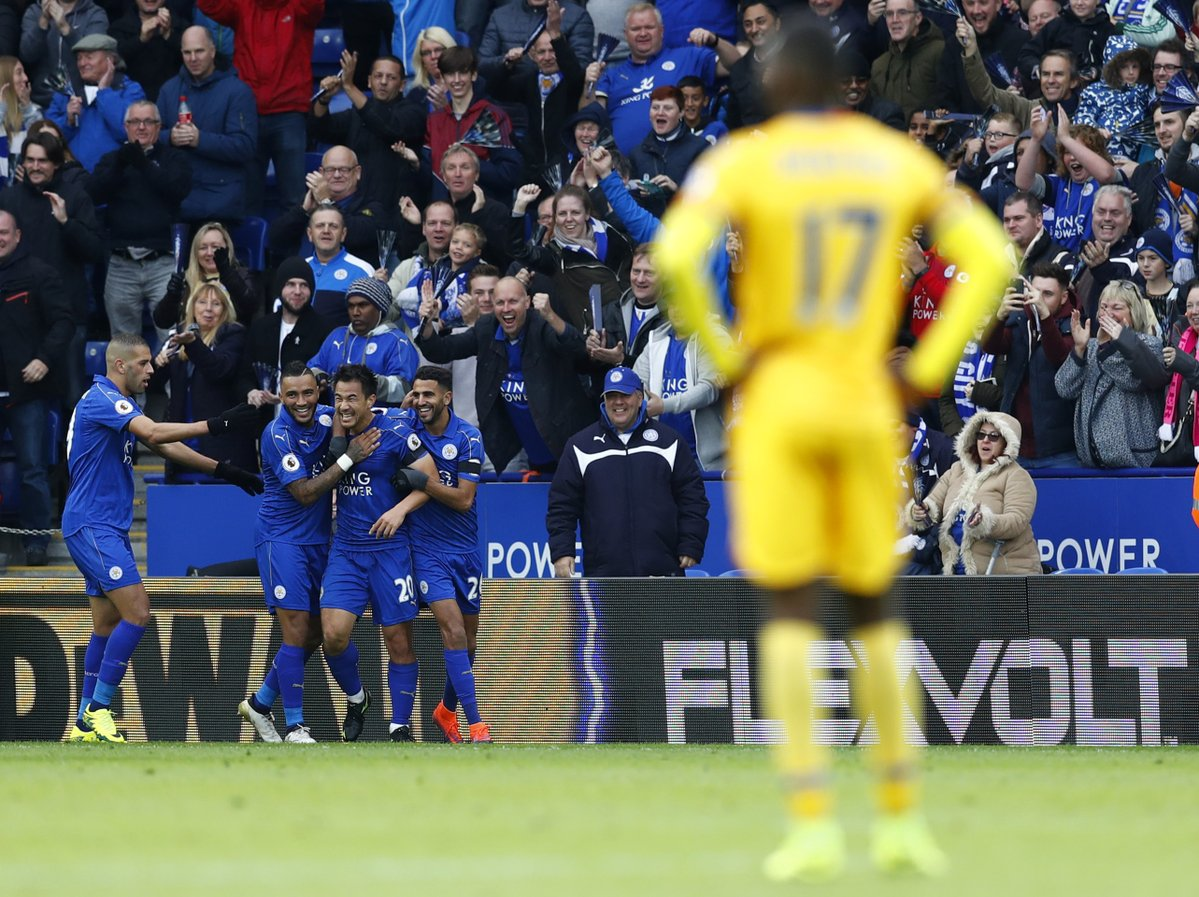 Shinji Okazaki is all smiles after doubling the Leicester lead #LEICRY