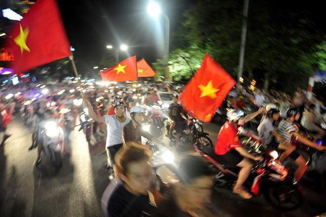 Vietnamese fans took to the streets late into the night to celebrate the U19s reaching next years U20 World Cup in Korea