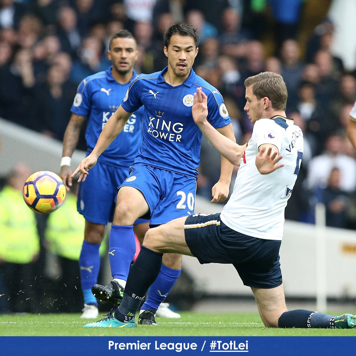 Shinji Okazaki clips the ball past Tottenhams Jan Vertonghen to start an attack for #lcfc