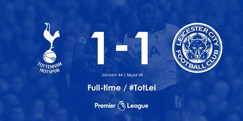 Full-time Tottenham Hotspur 1-1 Leicester City