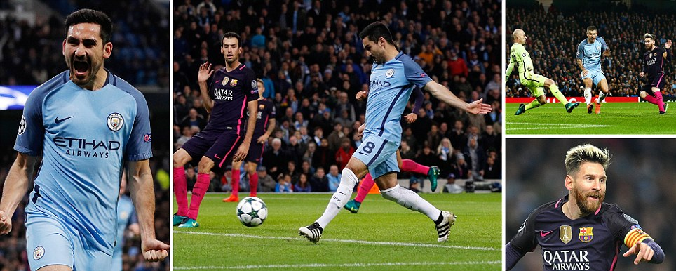 Man City vs Barcelona Gundogan draws hosts level as Barca are caught out at the back after Messis brilliant opener