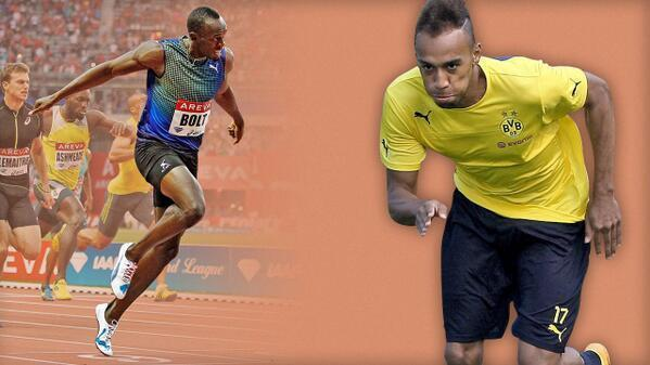 Les presento a Pierre-Emerick Aubameyang (Borussia Dortmund), que en una práctica corrió más rápido que Usain Bolt