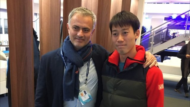 Mourinho dey chillax at ATP Finals with tennis Kei Nishikori