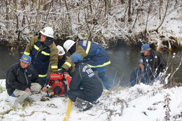 深川消防団との合同訓練