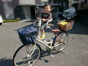 こども乗せ自転車にこばぶ乗せ
