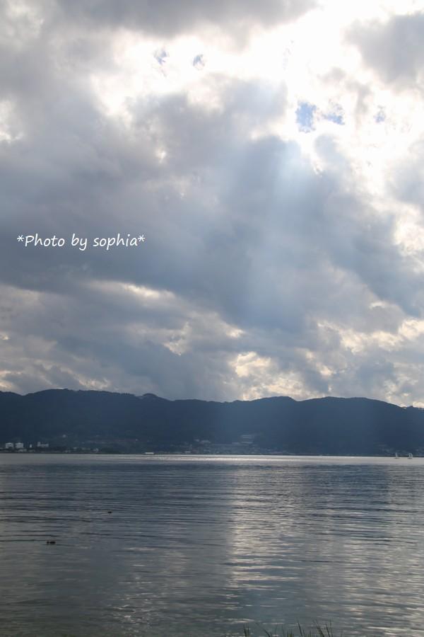 諏訪湖にて