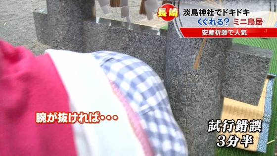 宮崎真実 ピンクパンチラ披露の安産祈願鳥居くぐりキャプ 画像14枚 9