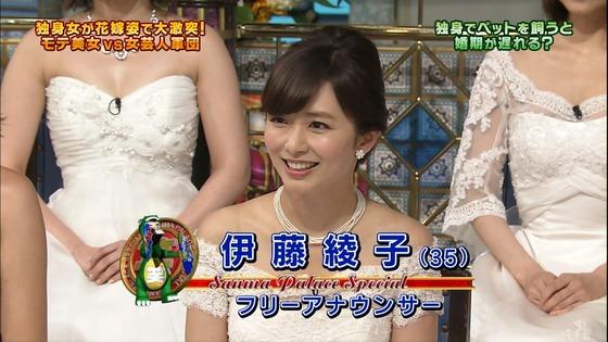 伊藤綾子 さんま御殿のウェディング姿胸チラキャプ 画像30枚 13