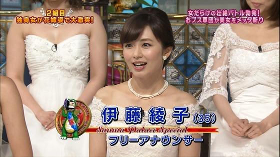 伊藤綾子 さんま御殿のウェディング姿胸チラキャプ 画像30枚 1