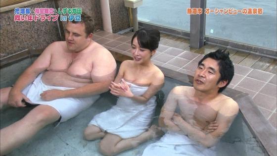 神室舞衣 露天風呂入浴で披露したDカップ谷間キャプ 画像18枚 16