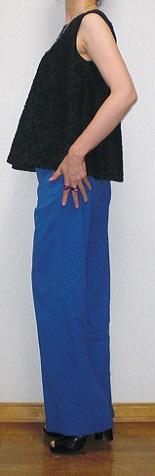 リネンパンツ ブルー 横