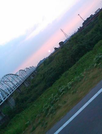 夕日を見ながら帰路へ