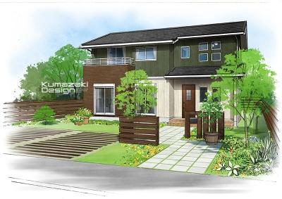 一戸建て住宅 木造住宅 注文住宅 完成予想図 外観パース 手書きパース 手描きパース フォトショップ photoshop