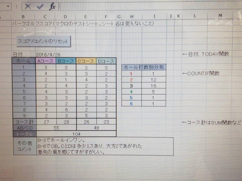 パークゴルフ マクロ Excel (作成テスト) (1)