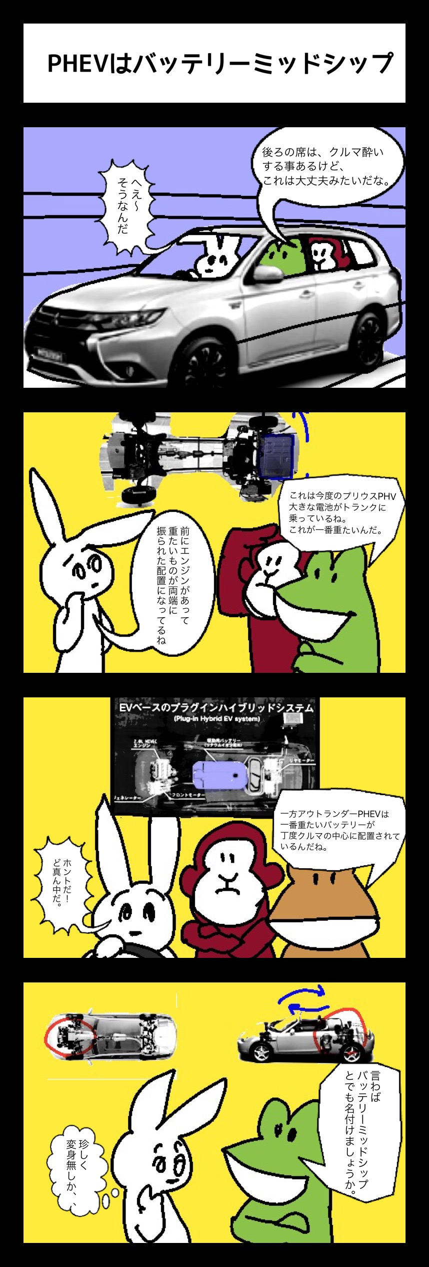 PHEV鳥獣戯画 その34「PHEVはバッテリーミッドシップ」