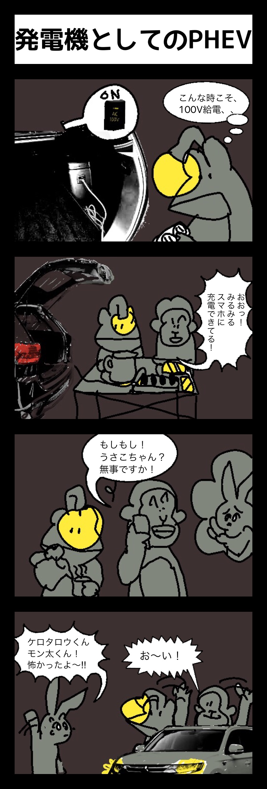 PHEV鳥獣戯画 その43「発電機としてのPHEV」