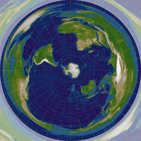 南極を中心とした正距方位図法