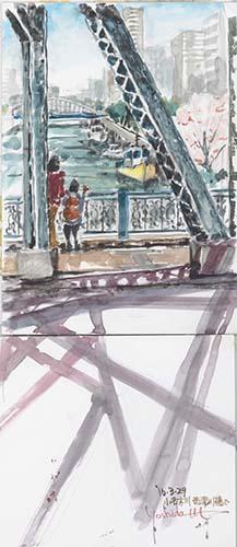 小名木川・西深川橋で/水筆B5x2