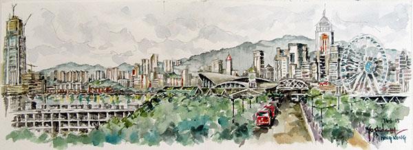 香港島でスケッチ(B5x2)