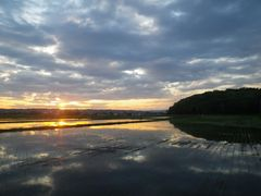 【写真】三舟山と夜明けの空が田んぼの水面に映っている様子