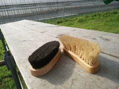【写真】アランフィールドののぼり台の上に置かれたアラン用のブラシ2つ