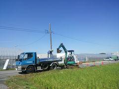 【写真】農園前の道路工事の様子