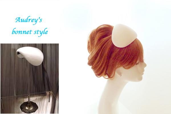 オードリー・スタイル♥シンプルな SILK100% ボンネ.ウェディング.ヘッドドレス