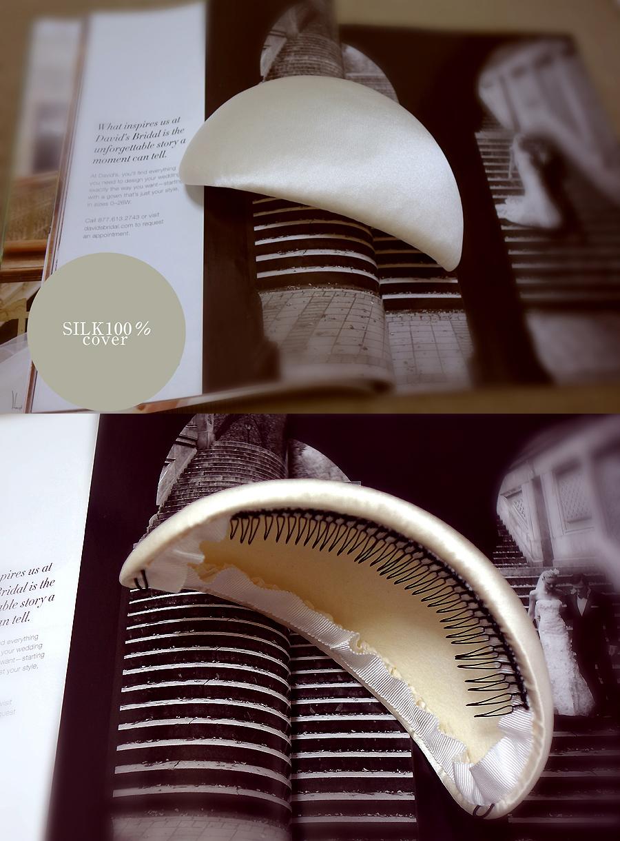 オードリー・スタイル♥シンプルな SILK100% ボンネ.ウェディング.ヘッドドレス4