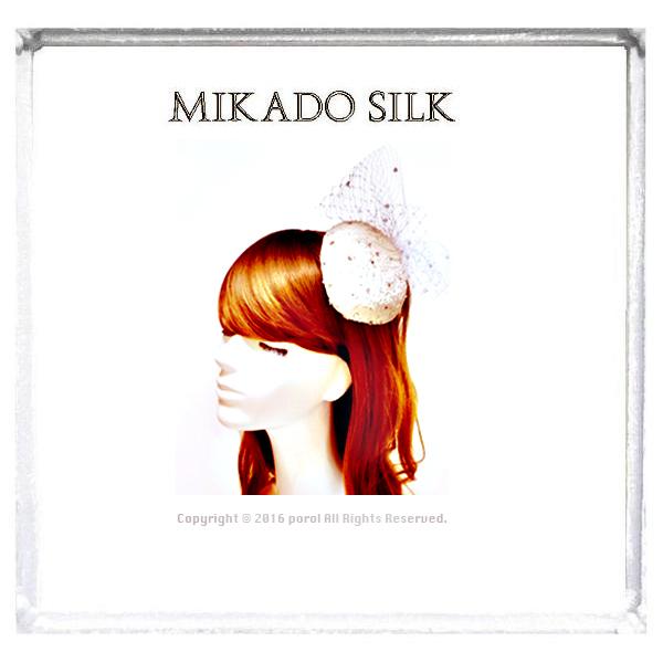 ★2  ミカドシルク 【絹Silk100%】 カクテルハット ヘッドドレス ウェディング 1.jpg