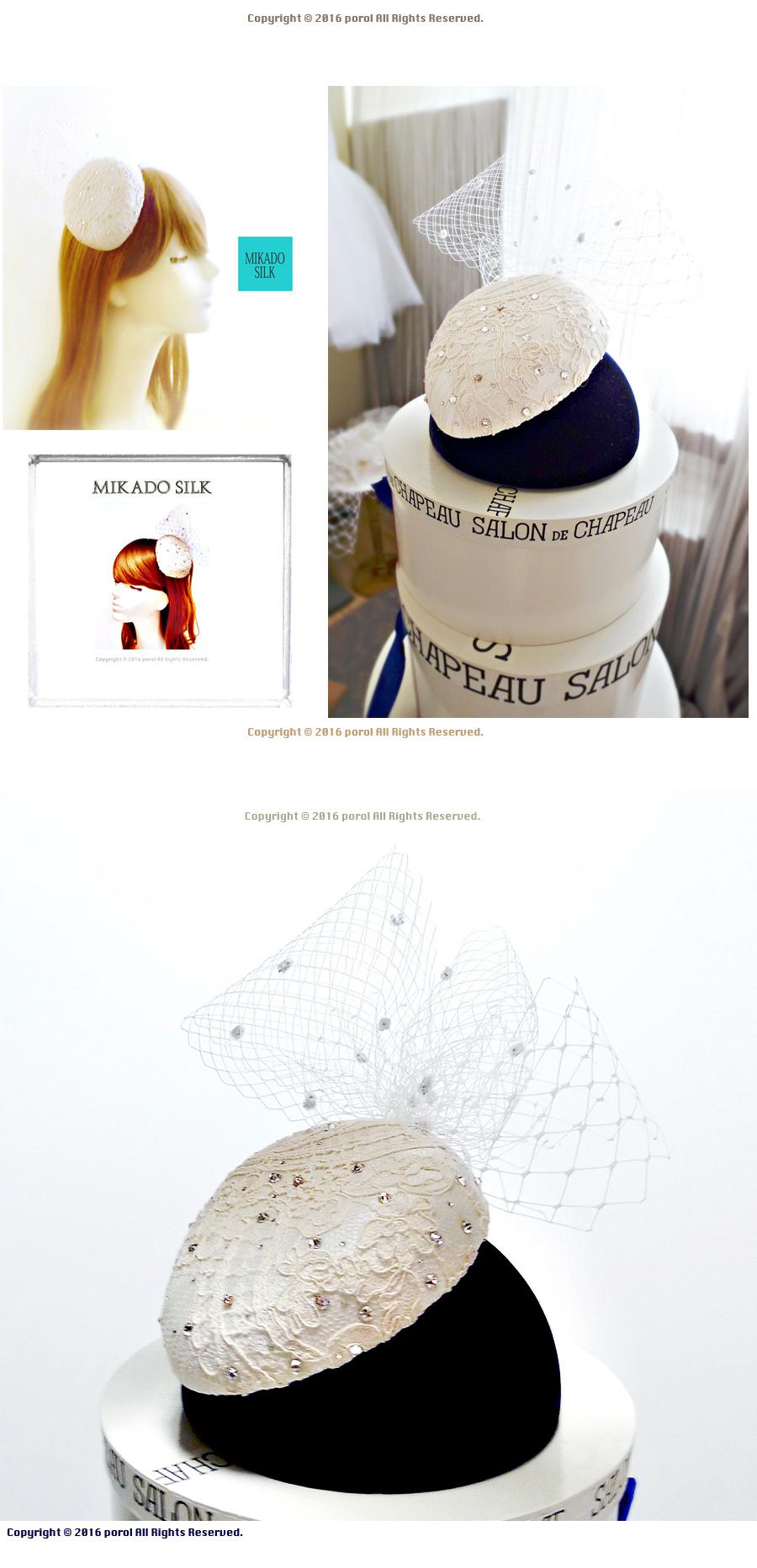 ★4  ミカドシルク 【絹Silk100%】 カクテルハット ヘッドドレス ウェディング 1.jpg