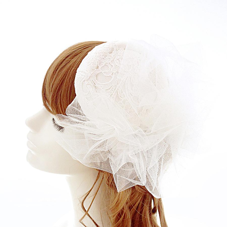 ★5 シルク100%+仏製レース.トーク帽★.ヘッドドレス.ウェディング くしゅくしゅベール 小