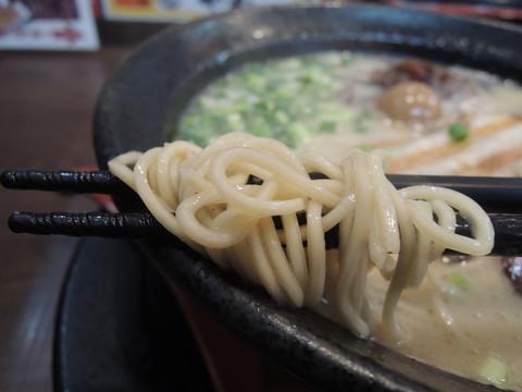 鬼炊き豚骨らーめんの麺
