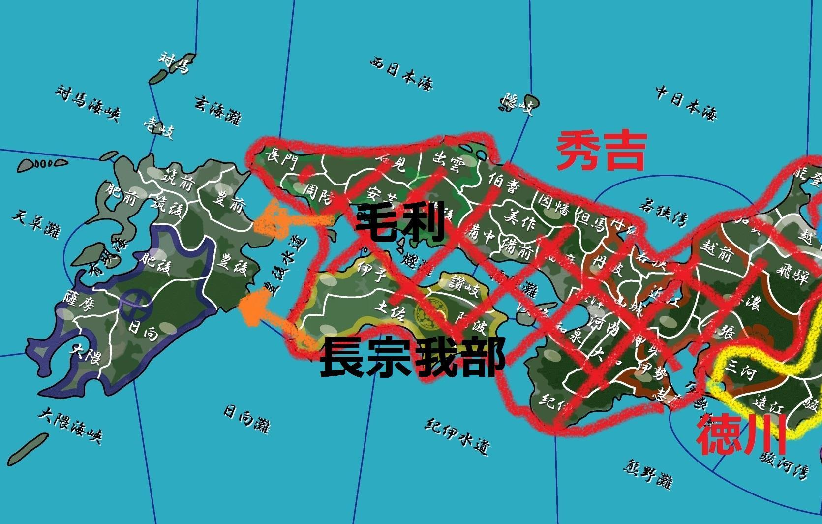 九州平定攻撃の様子・地図