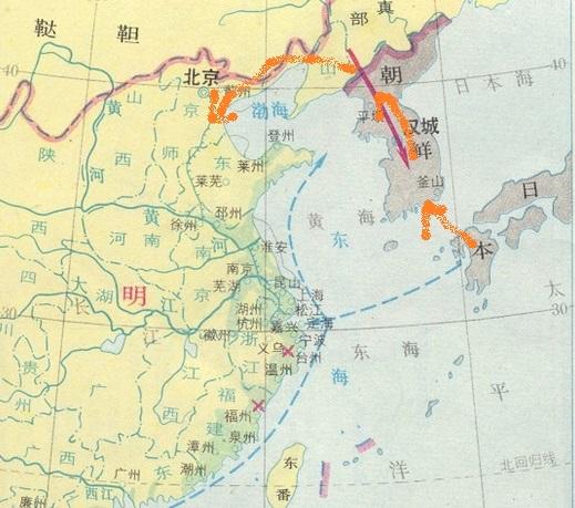 朝鮮半島をわたって明国に行く経路 地図