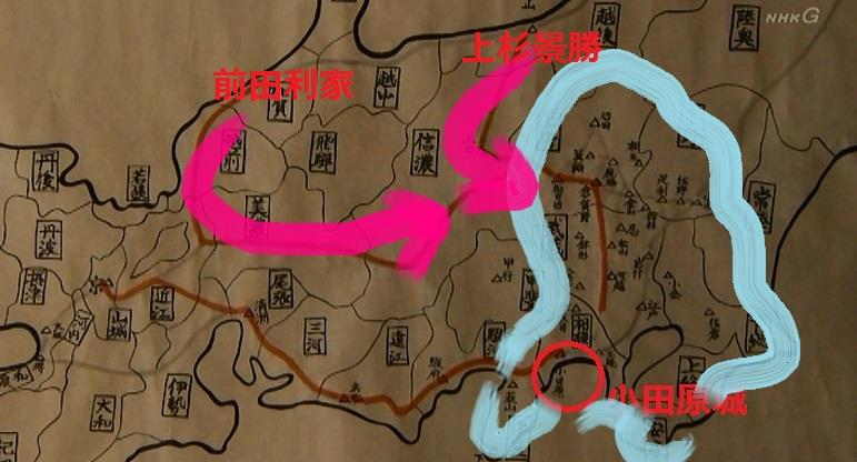 「一方、上杉殿は前田利家殿と東山道で合流。その後、上野(こうずけ)、武蔵(むさし)の北条方の城を残らず落としていただきたい」地図 真田丸