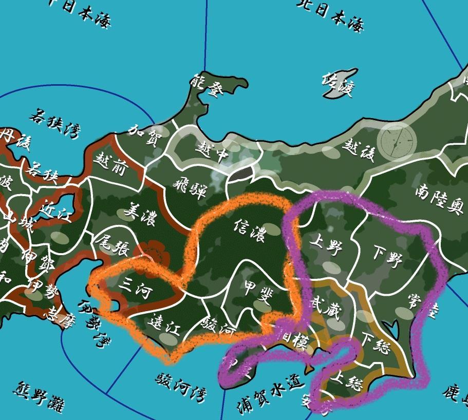 徳川家の現在の領地と関八州の地図