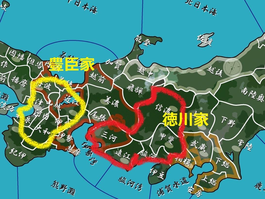豊臣家の本拠地と徳川家の領地の関係 地図