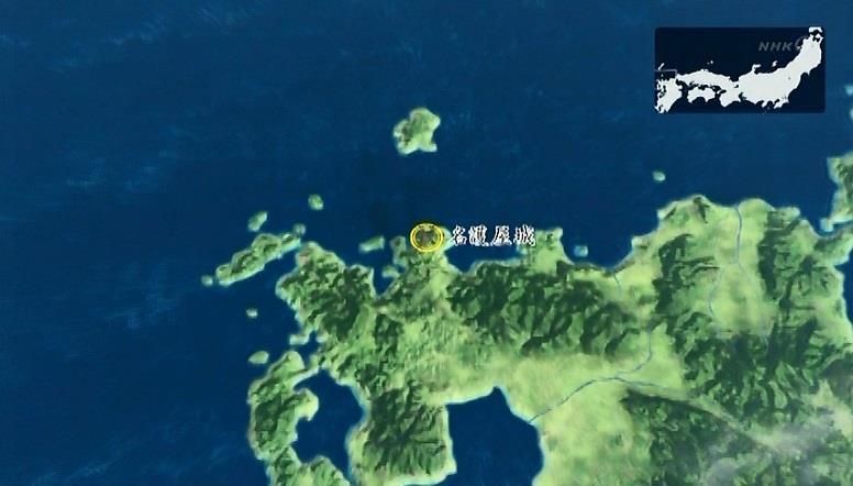 「肥前(ひぜん)の国・名護屋に城を築き、朝鮮を渡る準備を始めた。全国から大軍が集められる。そこには真田の姿もあった」地図