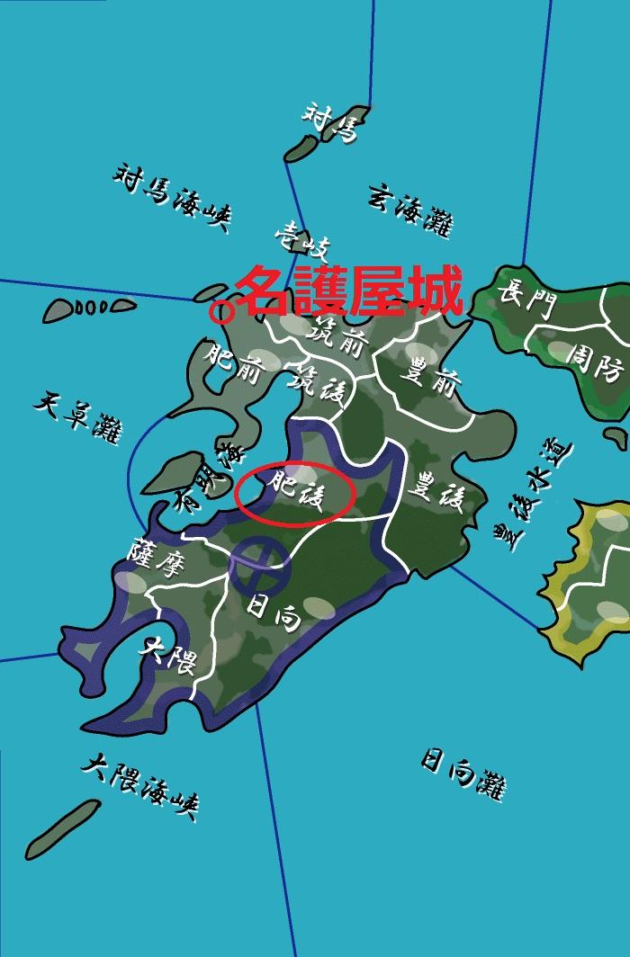 地図 名護屋城と肥後