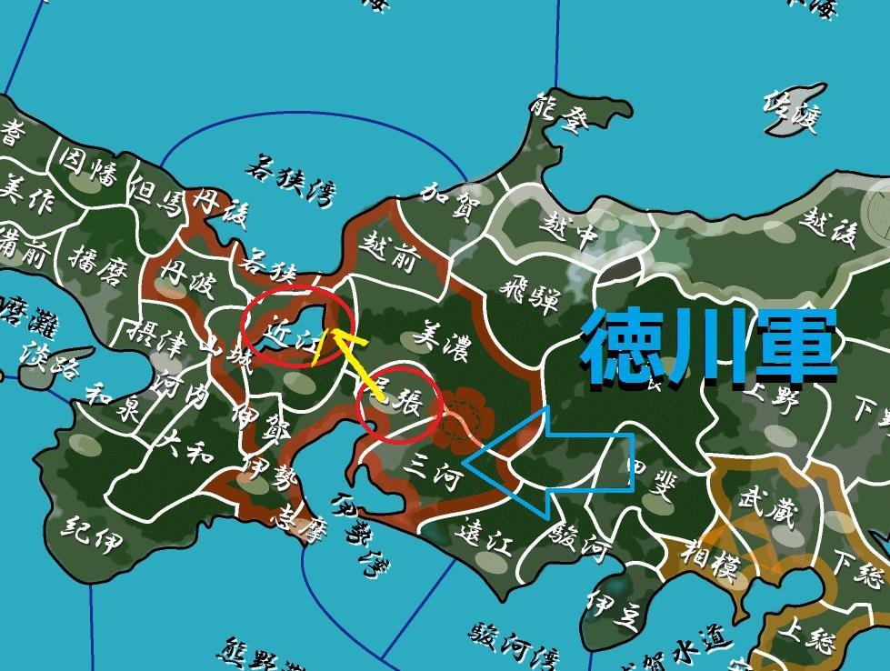 尾張から近江に退く 地図