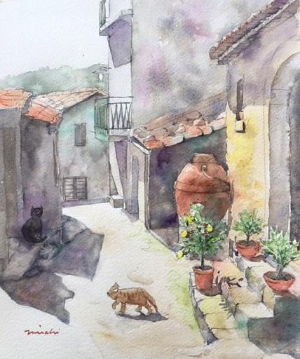 シチリア壺のある路地